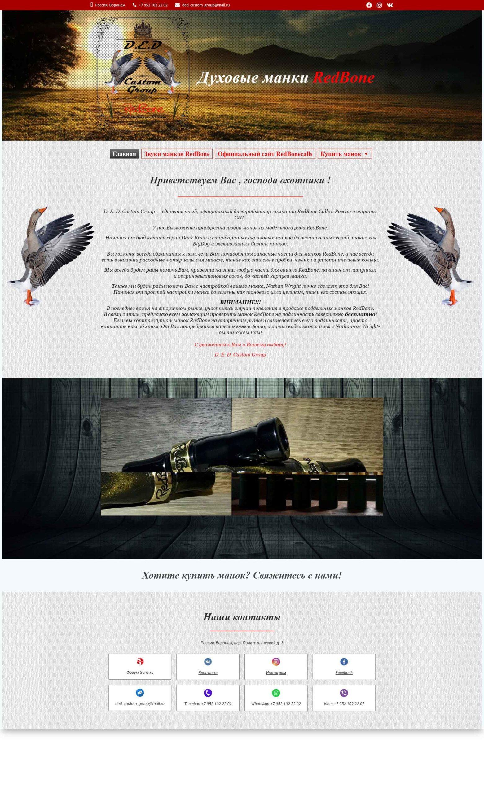 Скриншот главной страницы сайт визитка